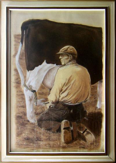 schilderijen pastelkrijt boer