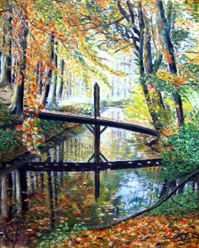 schilderijen pastelkrijt bos