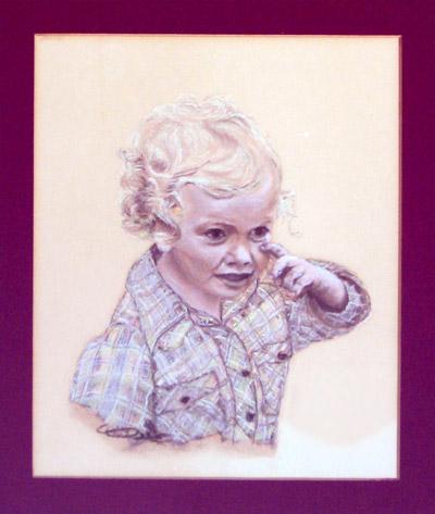 schilderij pastelkrijt kind