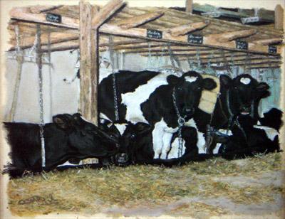 schilderij pastelkrijt kitty dieben koeien