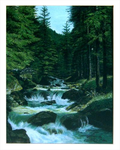 schilderij kitty luimes waterval